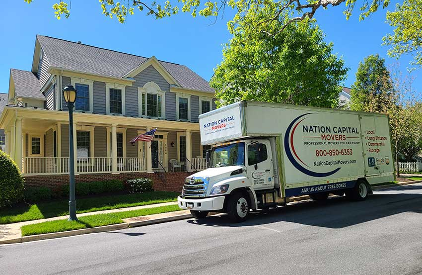 This is a moving truck in front of a house in  Centreville, VA.