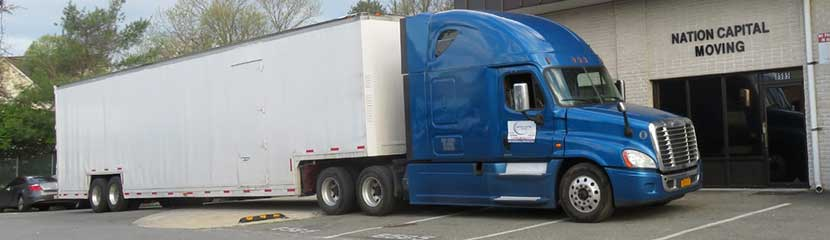 One of our moving trucks for a long-distance relocation.
